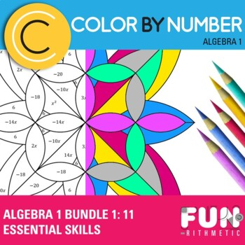 Algebra 1 Color by Number Bundle 1: 11 Essential Skills