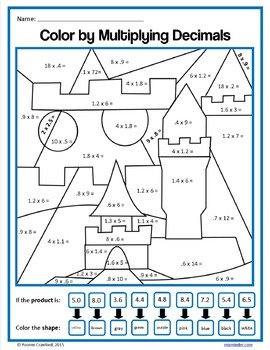 Color by Number Bundle 5th Grade Color by Equivalent Fractions, Decimals, etc.