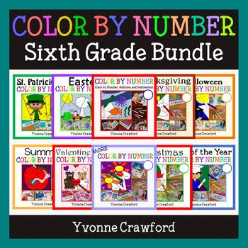 Color by Number Bundle 6th Grade Color by GCF, Absolutes, Decimals, Etc.