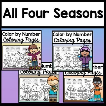 Color by Number Bundle {Fall, Winter, Spring, Summer} {Numbers 1-100}