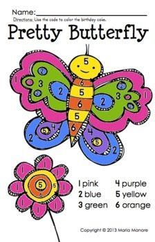 Color by Number Butterfly