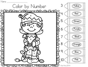 Color by Number: Number Identification - Christmas
