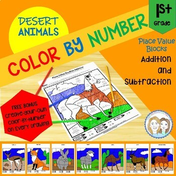 Color by Number - Desert Animals - 1st Grade