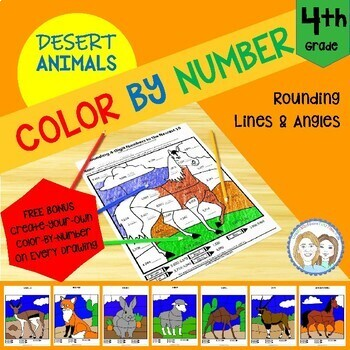 Color by Number - Desert Animals - 4th Grade