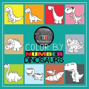 Color by Number Dinosaur Pack