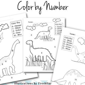 End of The Year Activities, Dinosaur, Color by Number, Number and Color Learning