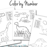 End of The Year Activities, Dinosaur, Color by Number, Num
