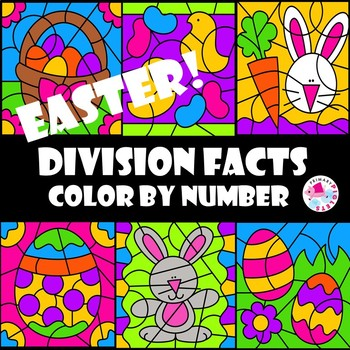 Color by Number Division Facts Easter Theme