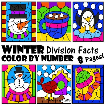 Color by Number Division Facts Winter Theme January February December
