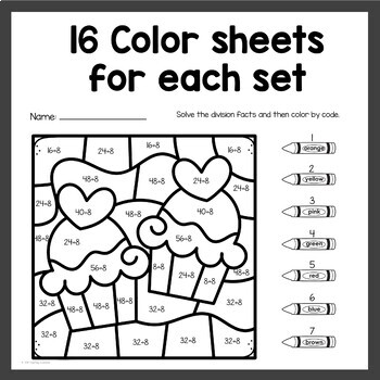 Color by Number Division Valentines Theme