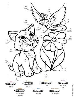 Kitten Color by Number-- Double Digit Addition and Subtraction