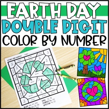 Earth Day Math Color by Code Pictures Double Digit Addition