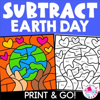 Distance Learning Color by Number Earth Day Subtraction