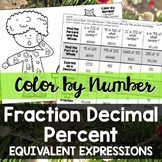 Color by Number - Equivalent Fractions, Decimals and Percents