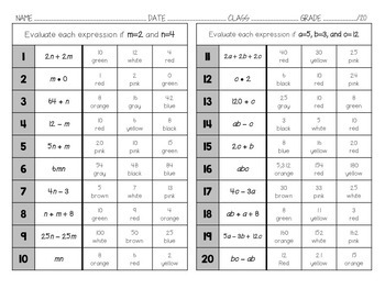Color by Number - Evaluate Algebraic Expressions by Substitution