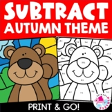 Subtraction Color by Number Fall Bundle | Color by Code Autumn | Coloring Pages