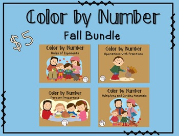 Color by Number Fall Bundle: Fractions, Percents, Exponent