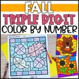 Color by Number Fall Mystery Pictures: Triple Digit Addition & Subtraction