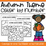 Color by Number Fall Preschool Worksheets