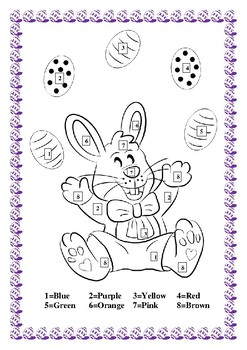 Color by Number Fun- Easter Bunny- Book Mark & Colors Word ...