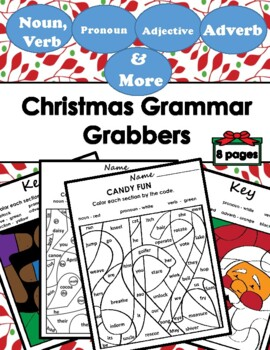 Color by Number Grammar Mosiac (Parts of Speech) - Christmas