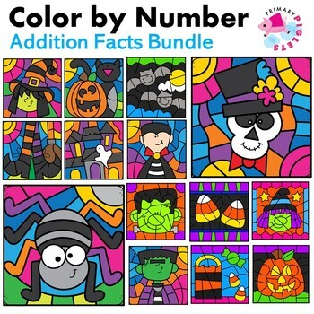 Color by Number Halloween Addition Facts Mystery Pictures BUNDLE