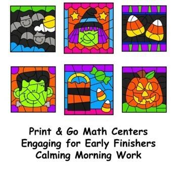 Color by Number Halloween Multiplication Set