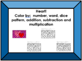 Heart Color Sheet (+, -, x, dice patterns, words, numerals, etc.)