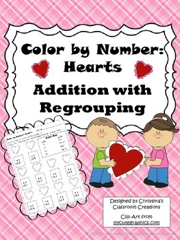 Hearts Addition with Regrouping: Color by Number