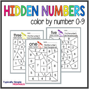 Color By Number Hidden Numbers 0 9
