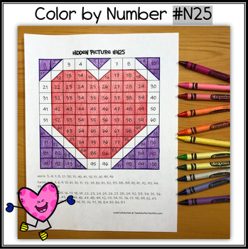 Color by Number – Hidden Picture #N25 – Heart