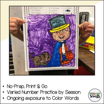 Color by Number: Kindergarten Fluency Center - YEAR LONG, NO PREP BUNDLE