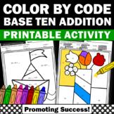 Color by Number Kindergarten Math Worksheets, Base Ten Blocks SPS