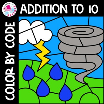 Addition Facts Color by Number Math  Weather Theme