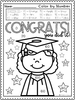Color by Number Math Fluency, Kinder Graduation by Primary ...