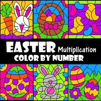 Color by Number Multiplication Easter Set