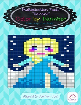 """Color by Number: Multiplication Facts """"Sevens"""""""