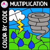 Multiplication Color by Number  Math Weather Set