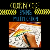 Color by Number Multiplication Spring Coloring Page