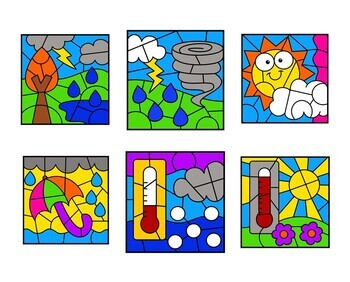 Spring Color by Number Multiplication Weather Set