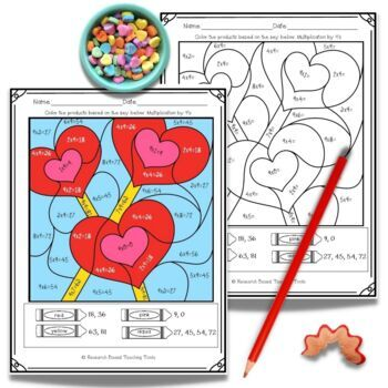 Valentines Day Math: Multiplication Color by Numbers