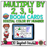 Color by Number Multiplication X2, X3, X4   BOOM Cards™   Apple Theme