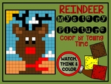 Color by Number Mystery Picture CHRISTMAS REINDEER - Telling Time