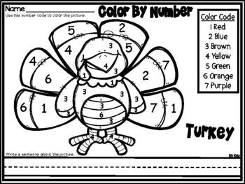 Color by Number November / Thanksgiving / Morning Work by ...