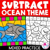 Color by Number Ocean Habitat Subtraction Facts Set