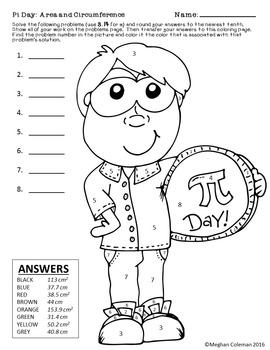 Color by Number: Pi Day - Circumference and Area