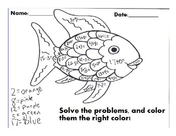 Perfect ... Color By Number Rainbow Fish (single Digit Adding)