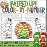 Christmas Color by Number Review Pair Check Activity -Ugly Sweater -Any Content