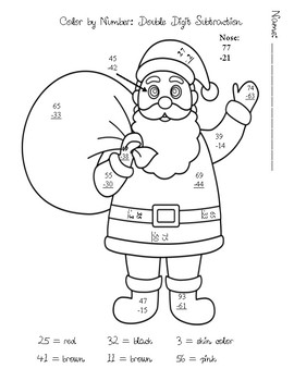 Color by Number Santa Double Digit Subtraction