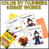 Color by Number/Sight Words: Turkeys and Scarecrows